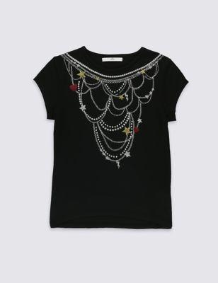 """Топ с дизайном """"Ожерелье"""" для девочки 5-14 лет T742108P"""