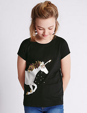 Pure Cotton Sequin Embellished Unicorn Print T-Shirt (5-14 Years)