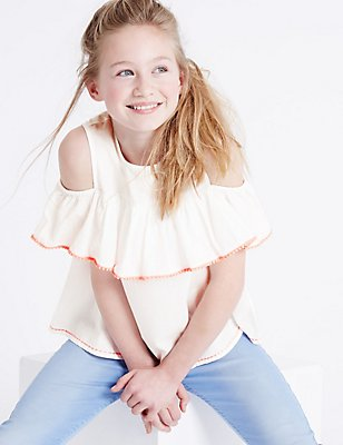 Pure Cotton Cut Out Shoulder Frill Top (3-14 Years), WHITE MIX, catlanding