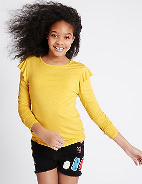 Frill Crew Neck Jersey Top (3-14 Years), MEDIUM YELLOW, catlanding