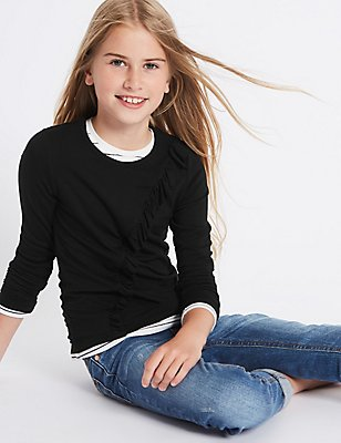 Frill Long Sleeve Top (3-14 Years), BLACK, catlanding