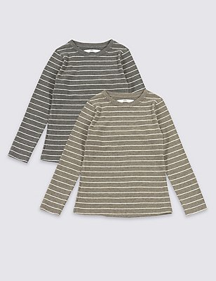 2 Pack Striped Tops (3-14 Years), GREY MIX, catlanding