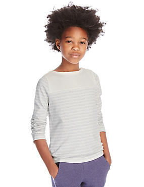 Pure Cotton Long Sleeve Striped Top with StayNEW™ (5-14 Years)
