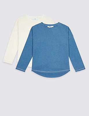 2 Pack Cotton Rich Long Sleeve Tops (3-14 Years), , catlanding