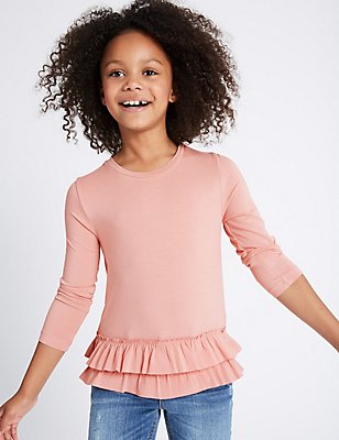 Long Sleeve Frill Hem Top (3-14 Years), ANTIQUE ROSE, catlanding