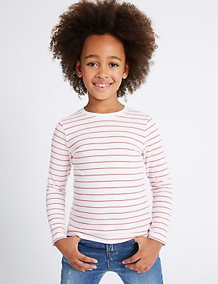 2 Pack Striped Long Sleeve Tops (3-14 Years), WHITE MIX, catlanding