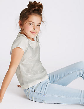 2 Piece Top & Camisole (3-14 Years), WINTER WHITE, catlanding