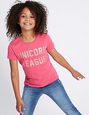 Pure Cotton Glitter Unicorn Top (3-14 Years), CERISE, catlanding