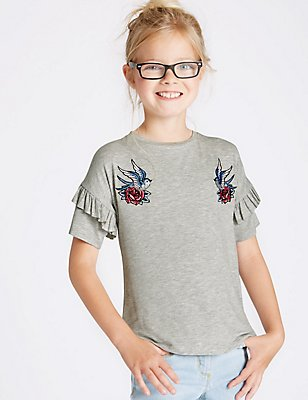 Frill Sleeve Top with StayNEW™ (3-14 Years), GREY MARL, catlanding