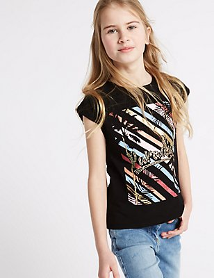 Pure Cotton Printed Top (3-14 Years), BLACK MIX, catlanding