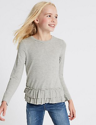 Frill Hem Long Sleeve Top (3-14 Years), GREY MARL, catlanding