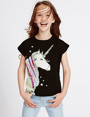 Pure Cotton Unicorn Sequin Top (3-14 Years), BLACK MIX, catlanding