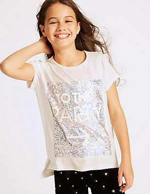 Short Sleeve Sequin Top (3-14 Years), WHITE MIX, catlanding