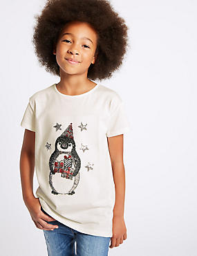 Pure Cotton Sequin Top (3-14 Years), WHITE MIX, catlanding