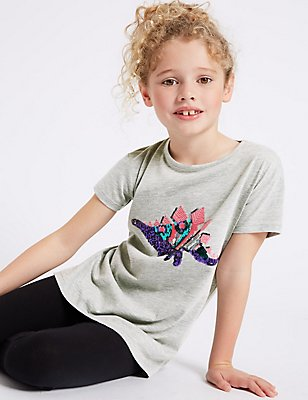 Cotton Rich Sequin Dinosaur Top (3-14 Years), GREY MARL, catlanding