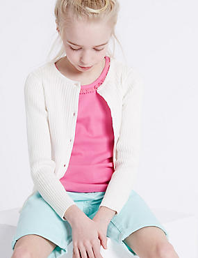 Pure Cotton Ribbed Cardigan (3-14 Years), IVORY, catlanding
