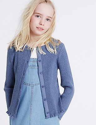 Pure Cotton Ribbed Cardigan (3-14 Years), BLUE MARL, catlanding