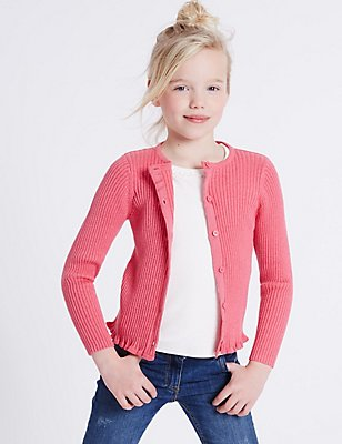 Pure Cotton Ribbed Cardigan (3-14 Years), RUBY, catlanding