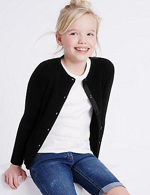 Pure Cotton Ribbed Cardigan (3-14 Years), BLACK, catlanding