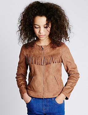 Faux Suede Fringe Jacket (5-14 Years)