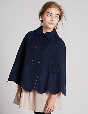 Scalloped Cape Coat with Wool (5-14 Years), NAVY, catlanding