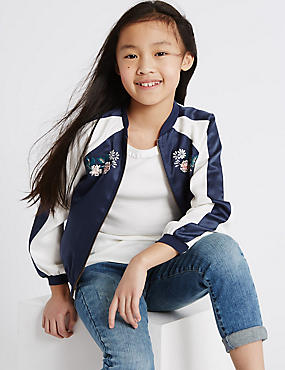 Embroidered Bomber Jacket (3-14 Years), NAVY MIX, catlanding