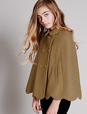 Scalloped Cape Coat with Wool (5-14 Years), CAMEL, catlanding