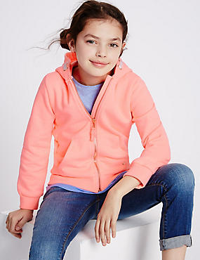 Long Sleeve Hoody (3-14 Years), BRIGHT CORAL, catlanding