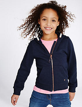 Long Sleeve Hooded Top (3-14 Years), DARK BLUE, catlanding
