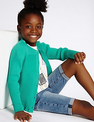 Pure Cotton Ribbed Cardigan (3-14 Years), JADE, catlanding