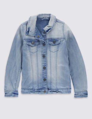 Джинсовая куртка на кнопках для девочки 3-14 лет