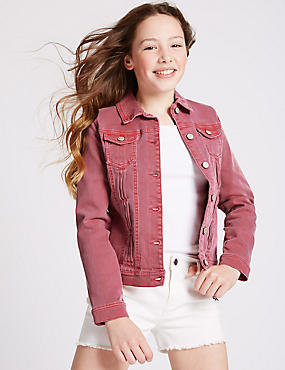 Cotton Denim Jacket with Stretch (3-14 Years), RUBY, catlanding