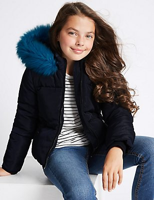 Hooded Faux Fur Coat (3-14 Years), NAVY, catlanding
