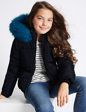Hooded Faux Fur Coat (3-14 Years), NAVY, catlanding