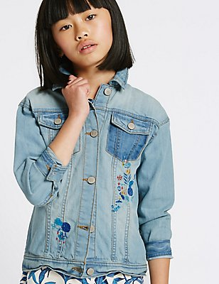Embroidered Denim Jacket (3-14 Years), MED BLUE DENIM, catlanding