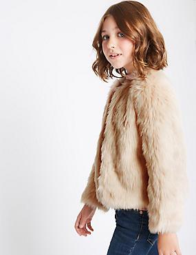 Faux Fur Zipped Coat (3-14 Years), NEUTRAL, catlanding