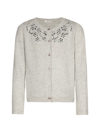 Cotton Rich Embellished Neck Cardigan (5-14 Years) Clothing
