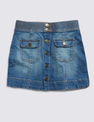 Джинсовая юбка А-силуэта с пуговицами для девочки 5-14 лет от Marks & Spencer