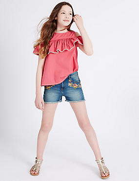 Cotton Embroidered Denim Shorts with Stretch (3-14 Years), MED BLUE DENIM, catlanding