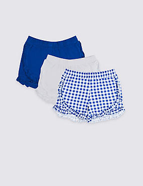 3 Pack Pure Cotton Ruffle Shorts (3-16 Years), BLUE MIX, catlanding