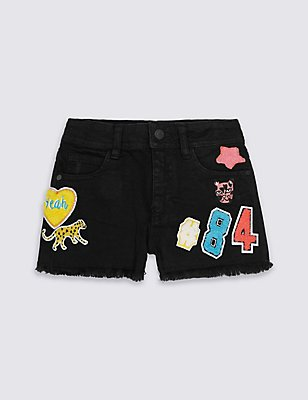 Embroidered Badge Shorts (3-14 Years), BLACK, catlanding
