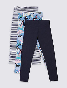 Lot de 3leggings assortis (du 3 au 14ans), BLEU MARINE ASSORTI, catlanding