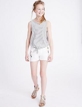 Embroidered Badge Denim Shorts (3-14 Years), WINTER WHITE, catlanding
