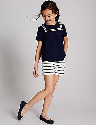 Cotton Rich Striped Shorts (3-14 Years), DARK NAVY MIX, catlanding