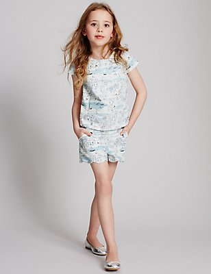 Cotton Rich Printed Shorts (3-14 Years), WHITE MIX, catlanding