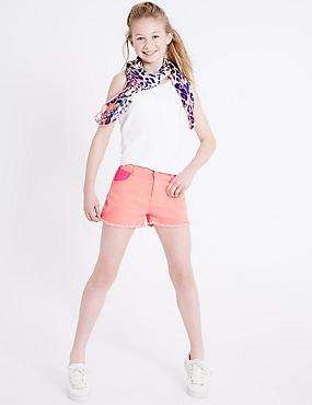 Sequin Denim Shorts (3-14 Years), CORAL, catlanding