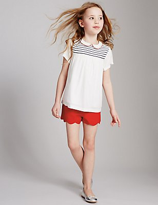 Cotton Rich Scallop Shorts (3-14 Years), RED, catlanding