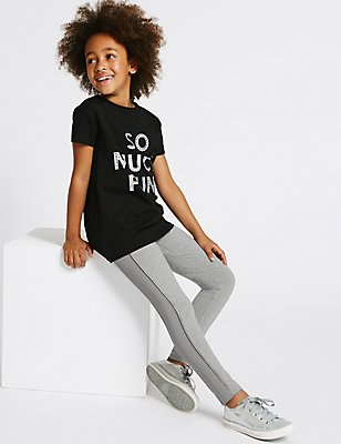 Ponte Ribbed Leggings (3-14 Years), GREY MARL, catlanding