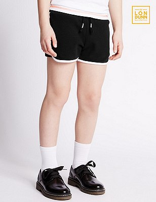 Pure Cotton Girls' Drawstring Waist Shorts (5-14 Years), BLACK, catlanding