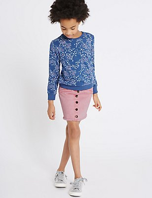 Cotton Denim Skirt with Stretch (3-14 Years), PINK, catlanding